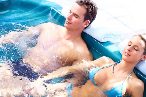 Couple Relaxing in Hot Tub near Salt Lake City